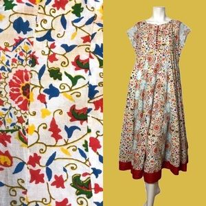 Sangria Blue White Indian Dress Yellow Red Small
